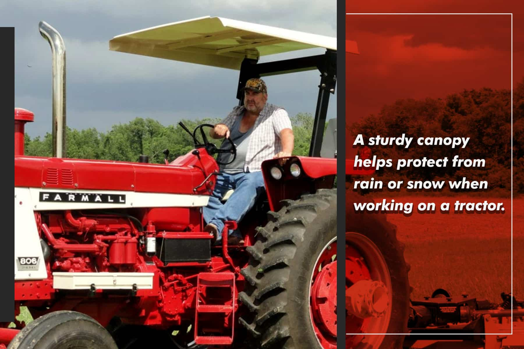 a good tractor shade canopy protects from precipitation