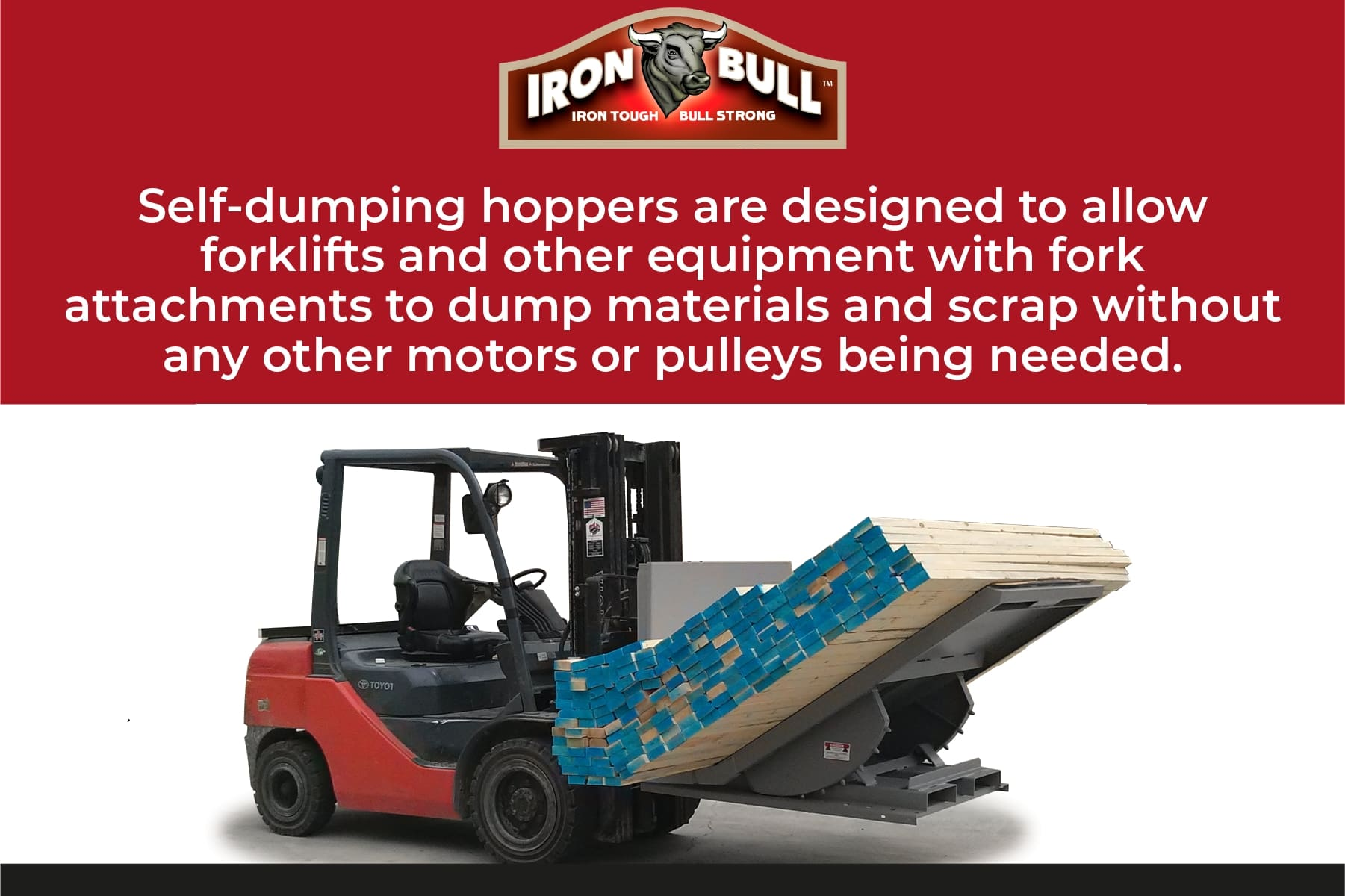 self dumping hoppers work with forklifts
